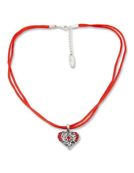 Collier rouge satiné avec petit coeur