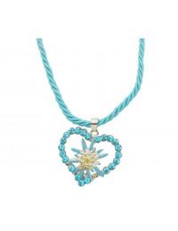 Collier tressé turquoise avec coeur et edelweiss